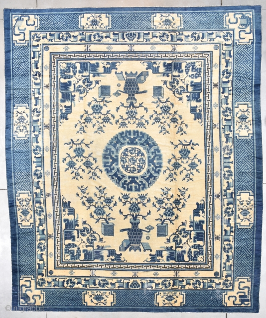 """#6492 Antique Peking Chinese Rug This 19th century Peking Chinese rug measures 11'4"""" x 13'7"""". It has a center medallion in three shades of blue with rose encircling a smaller center medallion with  ..."""