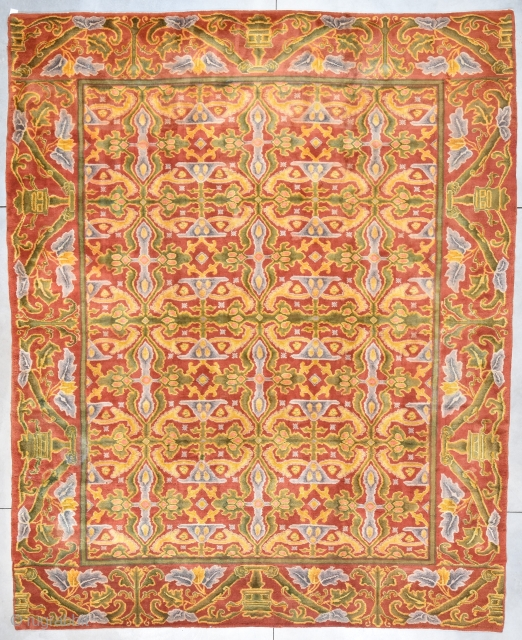 """Antique European Rug  #7942 Price on Request Size: 13'5"""" X 16'6""""   This gigantic European rug measures 13'5"""" X 16'6"""". It is most probably a Donegal rug and possibly designed by Voysey. I don't know  ..."""