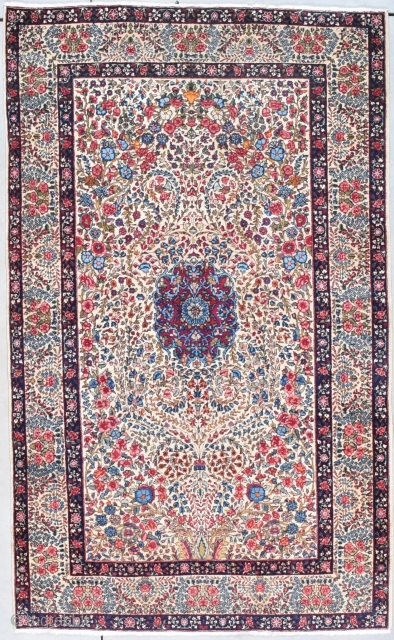 """Laver Kerman Persian Oriental Rug 4'7"""" X 7'6"""" #7993 This circa 1930 Laver Kerman Persian Oriental rug measures 4'7"""" X 7'6"""". This type of Kerman is known as Mille fleur for obvious reasons.  ..."""