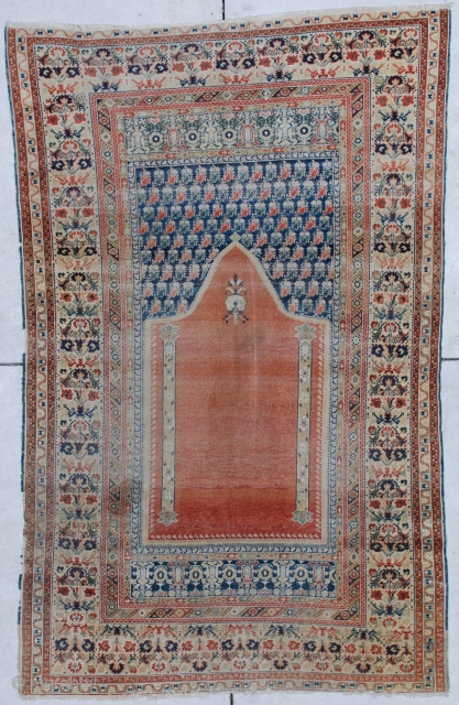 """#6856 18th century Ghordez  This 18th century Ghordez rug measures 3'6"""" X 5'8"""". It is a spectacular example of 18th century Turkish weaving.  It has a nicely variegated prayer design with a  ..."""