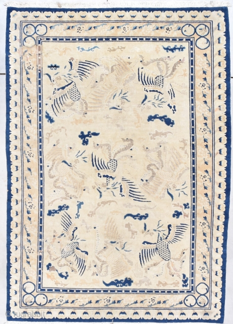 """Antique Peking Chinese Rug  #7888 This circa 1850 Antique Peking Chinese Rug measures 6'4"""" X 8'10"""" (195 x 272 cm). There is a type of rug that is very rare. It is  ..."""