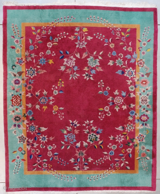 """#7611 Art Deco Chinese Rug  This circa 1920 Art Deco Chinese rug measures 7'10"""" X 9'6"""" (243 x 292 cm) . It has a cherry red field with an overall floral motif in  ..."""