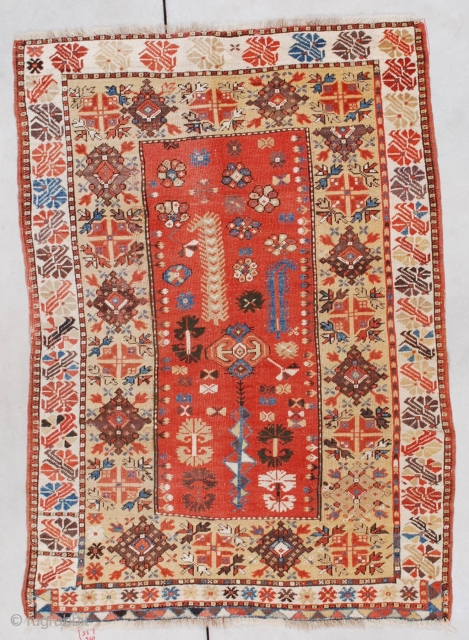 """#7352 Melas antique Turkish Rug  This 19th  century Melas measures 3'6"""" X 4'11"""" (109 X 155cm). It has a light rust or dark coral field with a tree of life motif and  ..."""