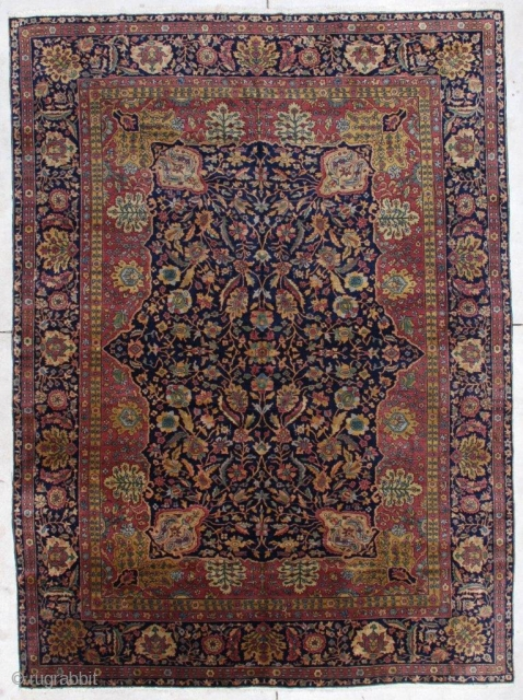 """#7293 Pahmina Wool Amritsar Rug  This last quarter 19th century Amrisar measures 7'3"""" X 9'9"""" (222 x 301 cm). It is extremely finely woven from the finest pashmina wool. It has a dark  ..."""
