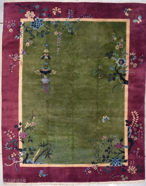 """#7799 Art Deco Chinese Rug  This circa 1925 Art Deco Chinese antique Oriental carpet measures 8'10"""" X 11'3"""". (272 x 344 cm). It has a medium green field with a hanging lantern in  ..."""