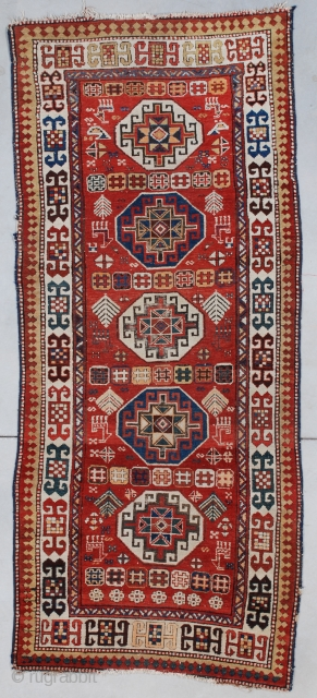 """#7538 Akstava antique Rug This circa 1890 Akstava measures 3'6"""" X 8'4"""" (109 x 256 cm). It has good pile. There is some end erosion. The sides are all original with some problems  ..."""