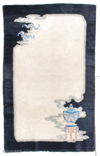 """#6515 Antique Art Deco Chinese Rug  This circa 1920 Peking weave Art Deco rug measures 3'1"""" x 5'0"""". In the lower right corner is an incense burner in blue, green, brown and  ..."""