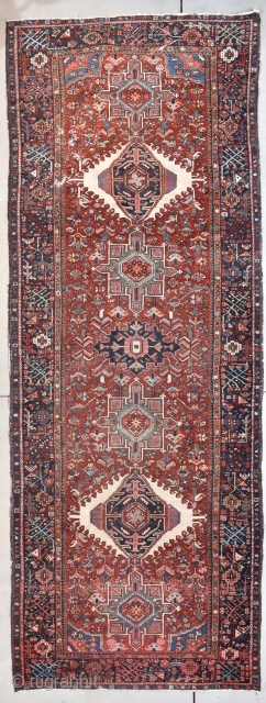 """Antique Karaja Runner Oriental Rug 4'8"""" X 12'6"""" #7969 This circa 1920 Karaja runner measures 4'8"""" X 12'6"""". It has seven medallions in ivory and teal on a tomato red ground with a  ..."""