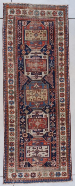 """This circa 1860 Shirvan runner #7578 measures 3'6"""" X 9'2"""" (109 x 280 cm). This is a very lovely tribal piece from the period I consider to be the climax of the  ..."""