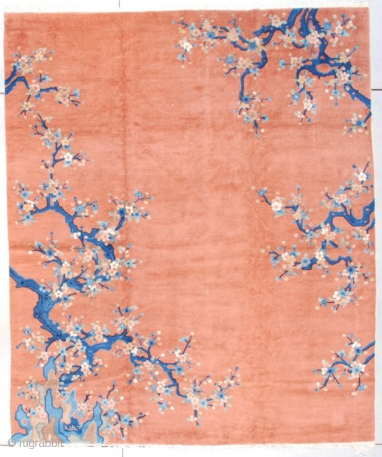 """#7655 Art Nouveau Chinese Oriental Rug This circa 1920 Art Nouveau Chinese Oriental rug measures 8'4"""" X 10'0"""" (256 x 304 cm). It is twisting and turning wildly in motion. Very sinuous and  ..."""