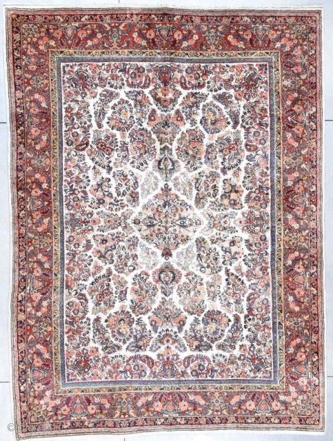 "#7697 Ivory Sarouk Antique Persian Rug 9'11"" X 13'3″