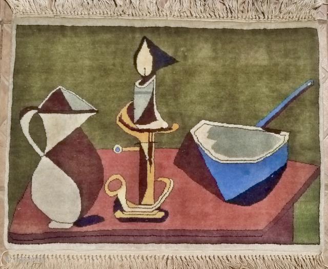 Pablo Picasso, Enamel pan,64 x 58 cm. 1945 Cubist period. Fine Handwoven period reproduction, mid 20 th. century