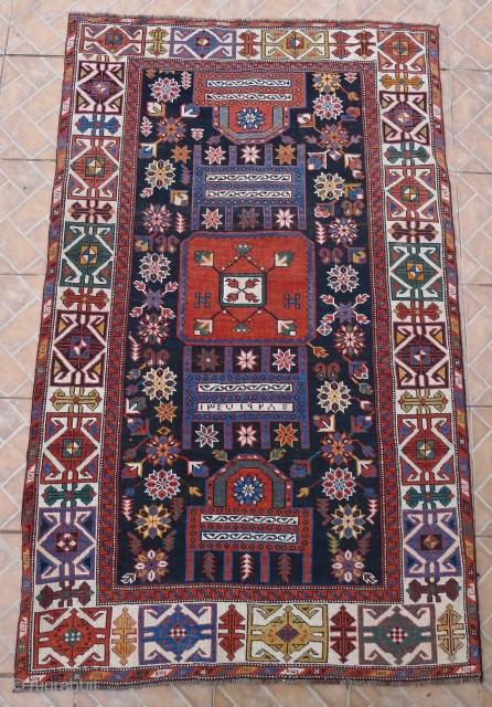 """Maraza """"Tachte/ Throne"""" Shirvan Rug, 185 x 114 cm. ( 6ft x 3.7ft) Dated 1347 A.H equals 1928 AD.  The design with two opposing thrones with a central squarish medallion on  ..."""