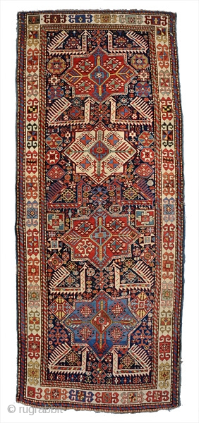 This is an Akstafa long rug. The size is about 4x9. All good dyes and in good condition. Great iconography!             