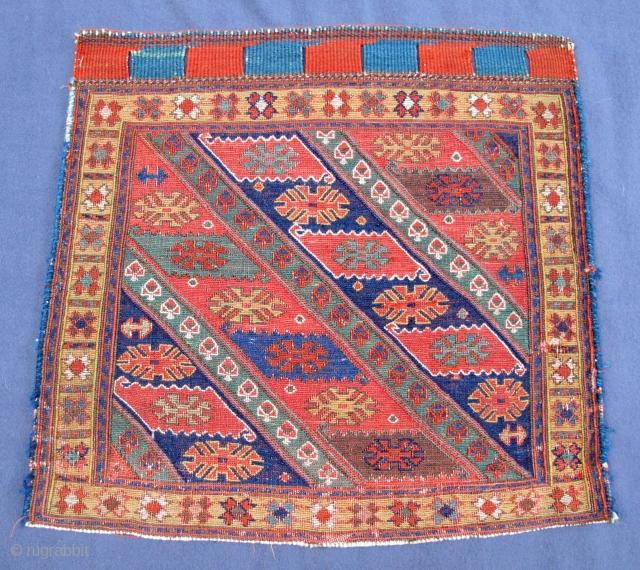 "Rare N.W. Persian Soumak bag-face of the early 19th. century, 22"" X 21""[56 X 54cm]"