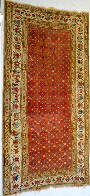 Finely woven archaic Shahsevan or related rug. Spectacular drawing and weave. un-plied weft. approximately, 4 1/2' X 9'