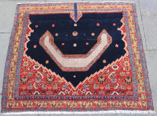 "Senneh saddle cover, finely woven, excellent condition,19th. century, 38"" X 33""[97 X 84cm]"