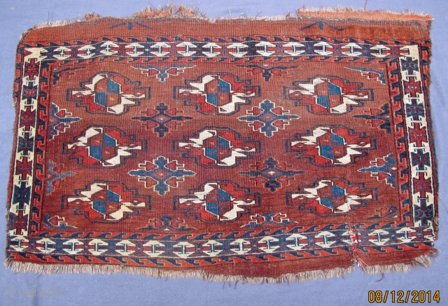 Early Abdal Chuval, 19th. century, note the rare unusual border design, natural colors including an intense aubergine.