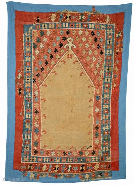 "Early Ottoman Prayer Kelim, west Anatolia, 16th. century, 65"" X 39"" [165 by 99 cms] CONSERVED BY TINA KANE GALLERY< WARWICK, NY"
