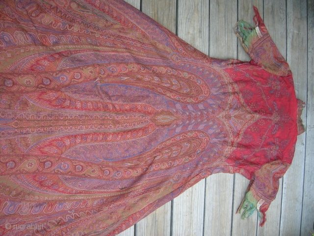 WOMAN'S PAISLEY SHAWL COAT DRESS      Size: Center-back: 57 inches, hem circumference: 90 inches      Date: Shawl:19th century, date of dress: 1930's(?)       ...