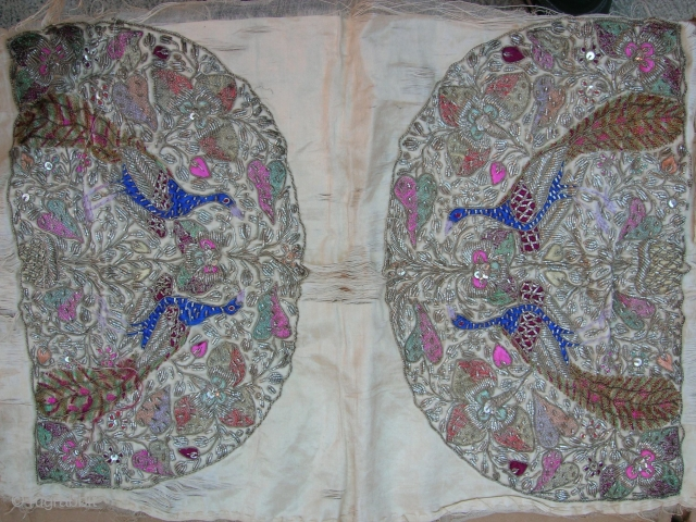 PERSIAN or INDIAN TEA COZY SHAPES (never completed/front & backs)     Size: 20 x 13 inches     Date: circa 1900 (?)     Multicolor silk threads, Metallic  ...