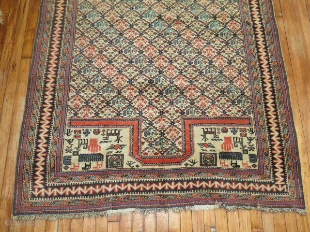 Antique Caucasian Shirvan Prayer Rug in a large size. 4'9''x7' Excellent condition.