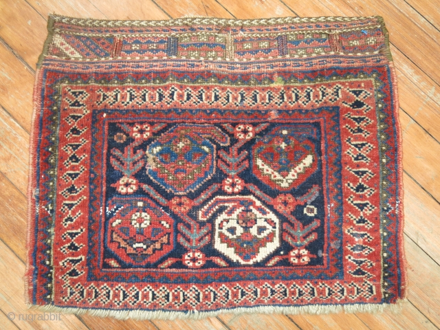 Antique Afshar Or Gashghai bagface.  1'6''x1'3''.  One end is missing bad has been secured.  Looks like 2 tiny repairs on top right center border.