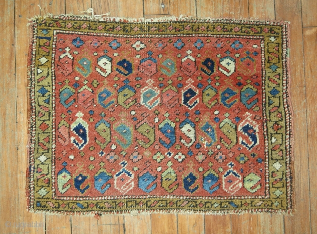 Antique NW Persian Bagface.  1'11''x1'5''  Ersari Design.  Decorative colors.  All vegetable dyes.  Has some nicks and nacks on corners.  Nothing too dramatic.