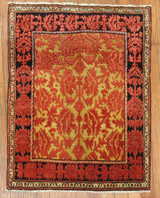 Antique Jozan with a saffron field.  2'1''x2'8''.  Excellent condition
