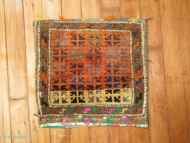 Funky Awesome Turkoman or Balouch Bagface.  Size 1'x1'1''