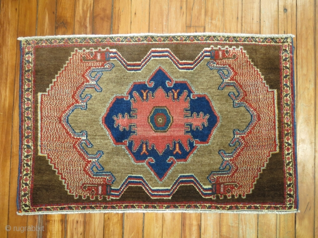 Antique Camel Field Senneh 2'9''x1'9''.  Ends have been professionally secured and missing only a few lines.
