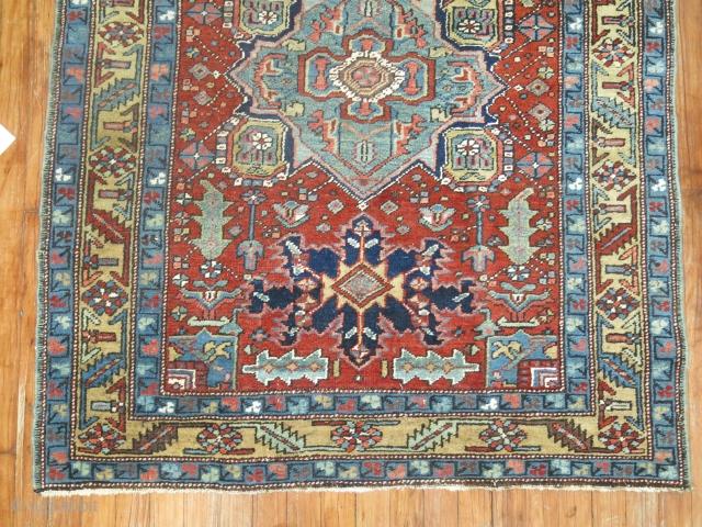 Antique Persian Heriz Untouched excellent condition.  3'9''x4'5''