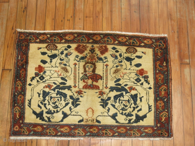 Antique Persian Hamedan.  Pictorial 3'x2'