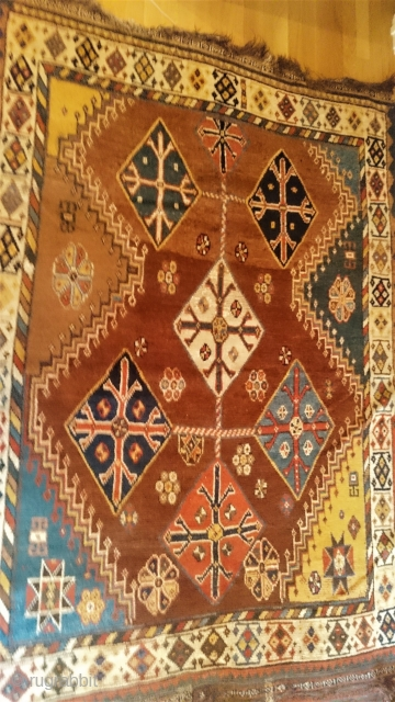 "This is a world class (okay,tribe class) Qashqai gabbeh, having no repairs, end kilims and overcast sides. App 4'9"" X 6'7"" = 144 X 200cm."