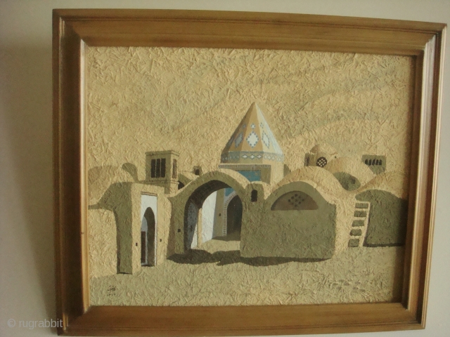 This is an original masterpiece by the renowned Iranian painter Parviz Kalantari (1931-2016) depicting part of a small oasis in Kirman with a wind-catcher (baad-gir)and entrance to the cistern (aab anbar). Acrylic  ...