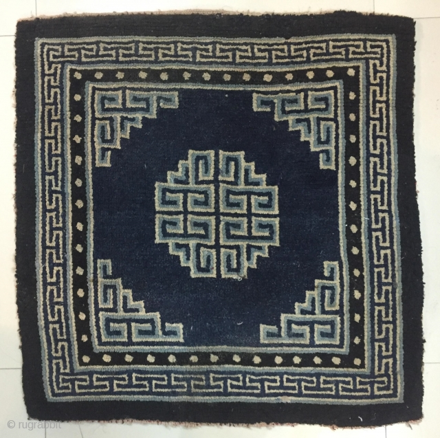 Tibetan square with an indigo ground