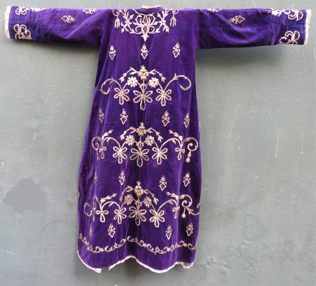 Antique Ottoman silk gold and thread wedding dress wonderful purple sill velvet Circa 1880-1890 (Bursa work )