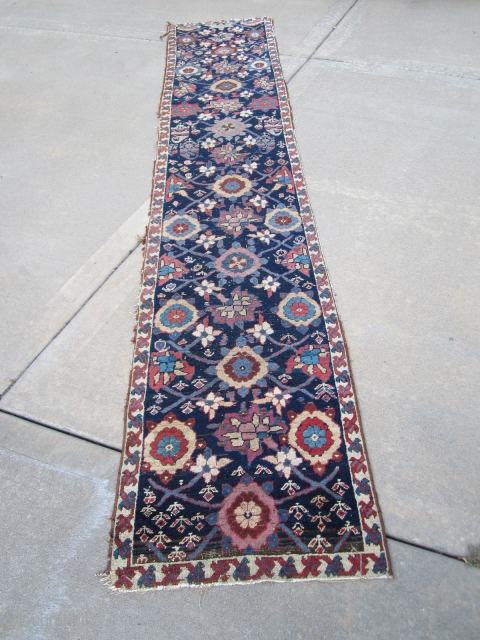 NW Persian runner, 2.2x11.7. Has been reduced to current size. Ca. 1880's or older.