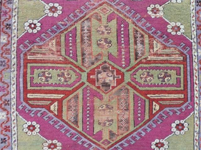 Anatolian Rug, Original condition, No repair, Size: 150 x 120 cm (4.9 x 3.9 feet).
