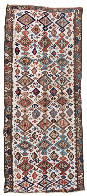 """Gaziantep/Adana Kelim 370 x 159 cm (12' 2"""" x 5' 3"""") Turkey, second half 19th century Condition: good, bottom end incomplete, some old repairs and signs of wear Warp: wool, weft: wool and cotton"""