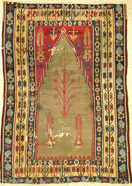 Fine Green Erzurum 'Prayer Kilim' (Silk & Metal-Highlights), Northeast Anatolia, 19thcentury, wool/silk & silver-gold-metal/white cotton parts/wool, unreadable date, cochineal Mihrabs, approx. 176 x 127 cm, condition: (traces of age/use, small missings).