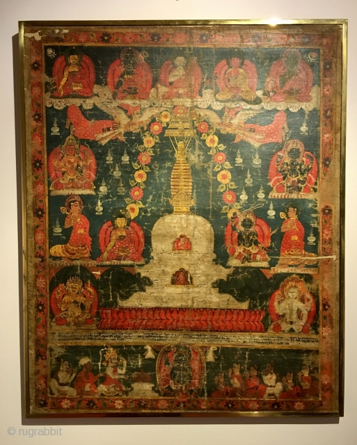 Beautiful early Nepalese thangka, Newari work. Damaged. Provenance Seward Kennedy, London.