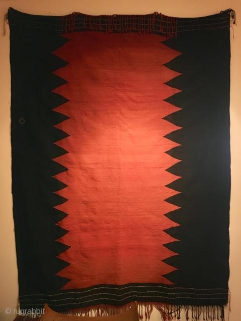 Antique Caucasian black red Verneh kilim . Crisp fine weave.  Minimal design . 170 cms x 223 cms. Perfect condition.