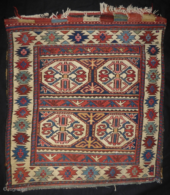 Shahsavan half saddle bag NOW ALL ORIGINAL 19th cent. 55 x 60 cm.  Fantastic sumac weave and all natural colors. The old dealer´s repair with brown yarn on three sides (left, right, bottom)are  ...