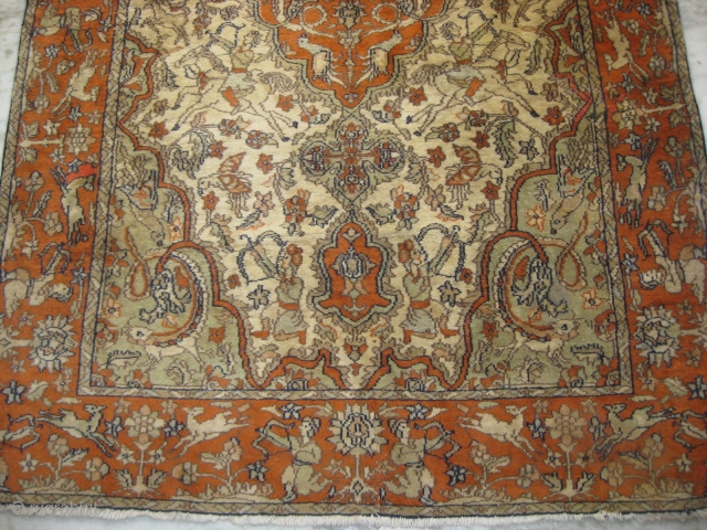 An old Indian hunting carpet, few re-paired areas, size: 6 x 4 feet approx.