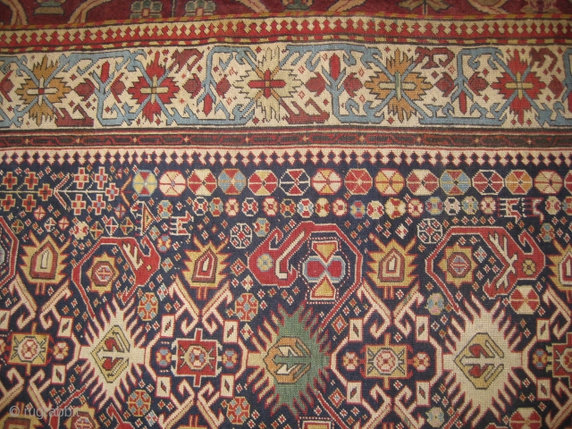 Rare 19th century Caucasian Shirvan carpet measuring 9.3 x 4.4 ft, has been repaired on few areas.