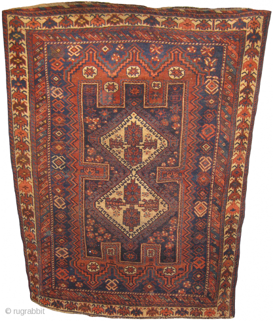 Afshar rug in mint condition, size: 4.11 x 3.8 feet.
