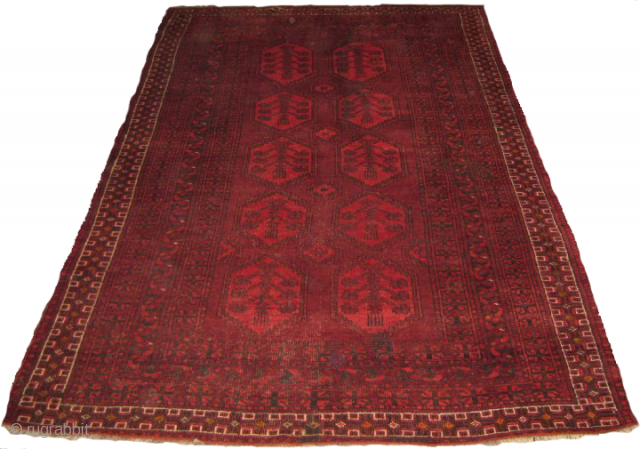 Old Afghan rug size: 6 x 4 ft good condition
