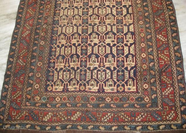 Caucasian carpet complete wear throughout, measuring 4.10 x 3.9 ft.