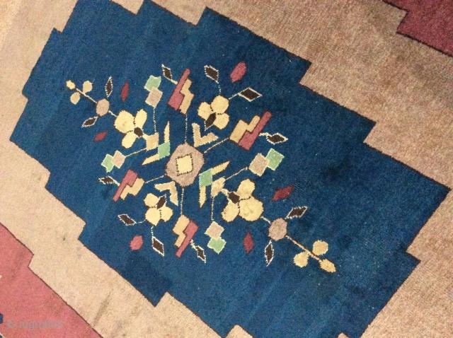 Art Deco rug needs minor repair measuring 365 x 274 cm.
